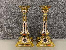 Royal Crown Derby pair of Old Imari patterned candlesticks (26.5cms)