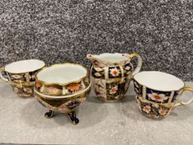 Royal Crown Derby Imari patterned cups and bowls etc