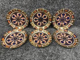 Royal Crown Derby Imari patterned teacup saucers x6