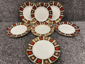 Royal Crown Derby Imari patterned x7 plates (22cms)