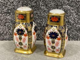 Royal Crown Derby old Imari patterned Salt & Pepper condiments