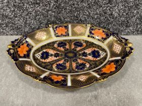 Royal Crown Derby Imari patterned twin handle oval shaped tray dish. (22.5cms) in good condition