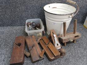 Mixed lot including Vintage Enamel bucket, Stanley plane, woodworking tools & tub of mixed door