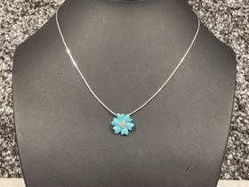 Ladies 9ct white gold Turquoise pendant and Diamond chain.