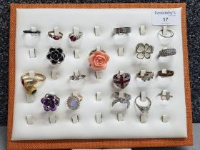 Display ring stand holding 19 different costume rings, CZs, union jack etc