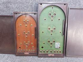 2 vintage wooden bagatelle games with lids & balls, Corinthan 24 & corinthian 28