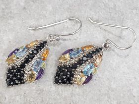 Pair of silver multicolored gemstone snake earrings, 5.8g