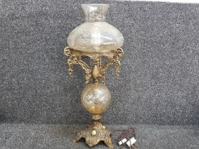 Reproduction gilt and glass table lamp with glass shade, height 70cm