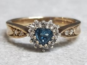 9ct yellow gold topaz & diamond ring, heart shaped topaz surrounded by small diamonds and 2 more