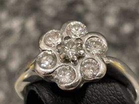 18ct white gold Diamond cluster ring. Comprising of 7 round brilliant cut diamonds, all set with rub