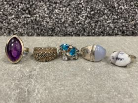 5 x Silver assorted rings including Marquisette (36.6g)