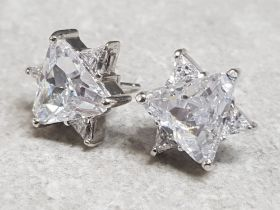 Pair of 925 silver white stone star earrings