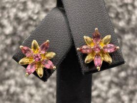 Ladies 9ct gold Pink stone stud earrings