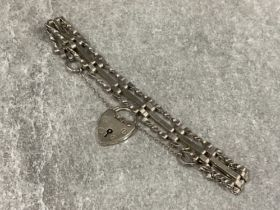 Ladies Silver 3 bar gate bracelet with heart catch and safety chain