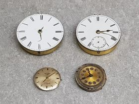 Two Victorian pocket watch movements and two other movements including Rotary.