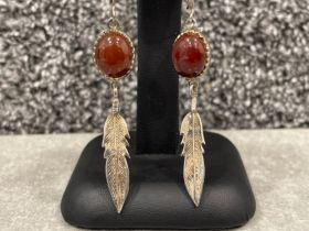 Ladies Silver drop feather earrings with brown stones