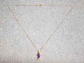 9ct yellow gold & amethyst Mam necklace, 1.2g