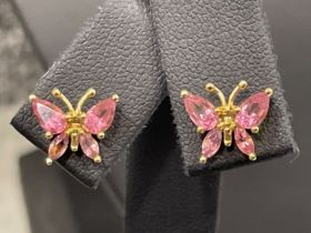 Ladies 9ct gold Pink tourmaline Butterfly pendant and matching earrings