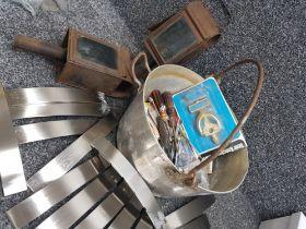 Lot comprising of Vintage metal jam pot, 2 carriage lanterns plus 14 kitchen handles & various