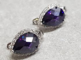 Pair of Silver & purple stone earrings, set with multiple CZs around centre stones, 10.7g