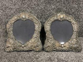 Pair of Silver heart shaped cherub picture frames (25cm x 28cms)