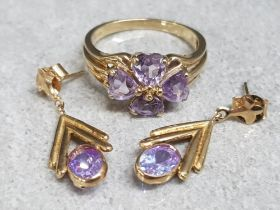 9ct yellow gold and purple stone heart ring & earring 3 piece set, ring size M, 4.1g gross