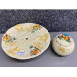 Clarice Cliff Celtic harvest cake plate on stand together with slightly damaged preserve pot