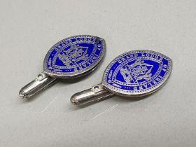 Hallmarked pair of silver Irish masonic cufflinks
