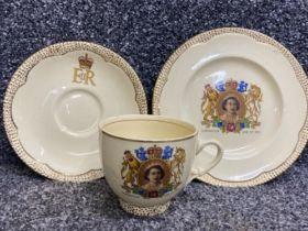 Clarice Cliff trio for the coronation of Queen Elizabeth 1953, cup, saucer & plate