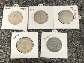 5x silver one Rupee coins 1862/1893/1916/18/19