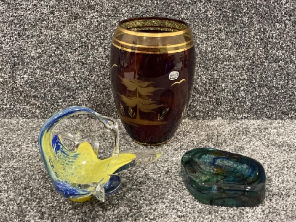 Murano basket, Bohemia crystal vases and Hartley Wood paperweight