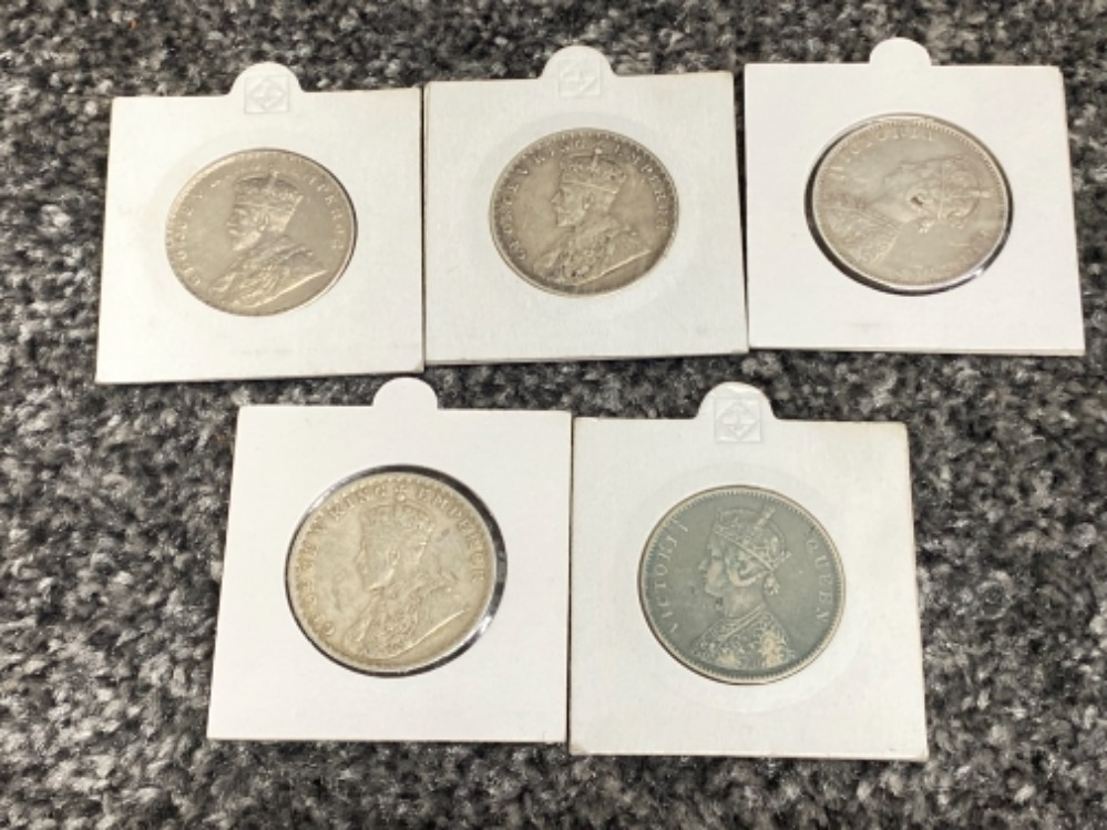 5x silver one Rupee coins 1862/1893/1916/18/19 - Image 2 of 2