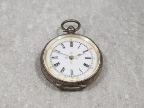 Ladies silver half hunter pocket watch with white dial black Roman numeral hour markers and floral
