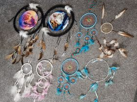 9 Native American hanging dream catchers, various styles & sizes
