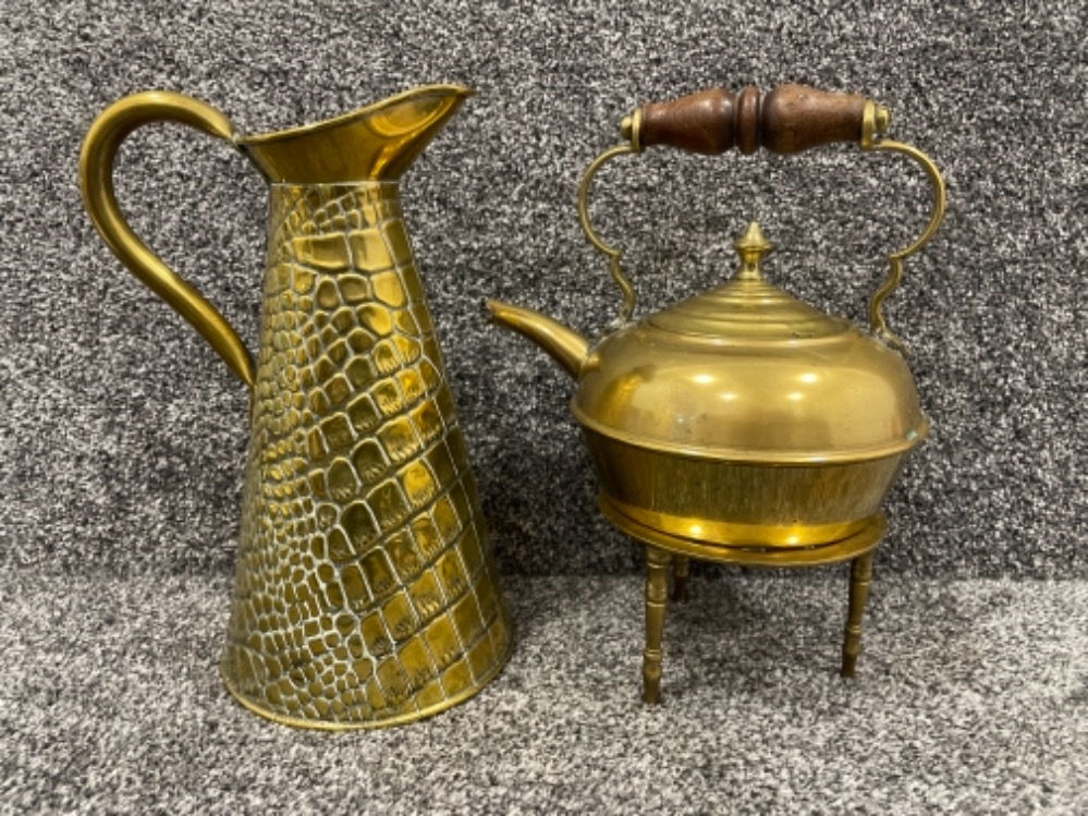 Barometer, Brass kettle on stand and brass water jug - Image 2 of 5