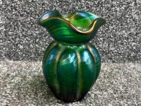 Loetz Kralik iridescent green lobed vase necked with quatrefoil fluted top, height 11cms