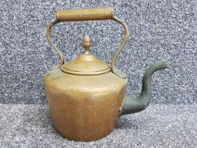 Antique copper & brass kettle with acorn finial
