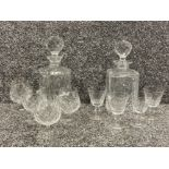 Brandy and Whisky decanters with glasses and goblets