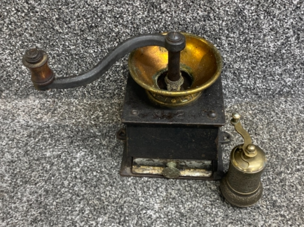 Cast Iron coffee grinder together with highly decorative Middle East pepper grinder - Image 2 of 3