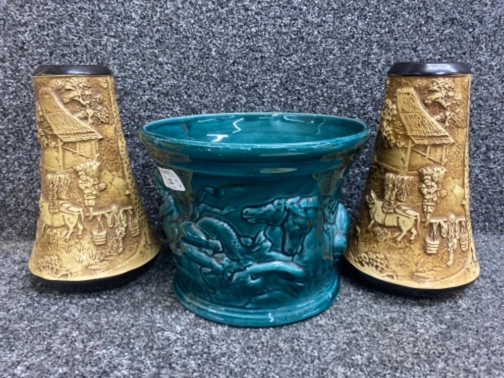 Pair of Art Nouveau Bretby vases & later planter