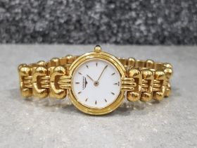 Ladies gold plated longines watch with white dial and baton hour markers quartz movement in original