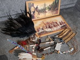 Box of native american items, including ornamental tomahawks, 2 pictures, headwear etc