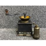 Cast Iron coffee grinder together with highly decorative Middle East pepper grinder