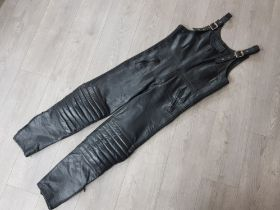 Sporter design leather hide dungarees size 34