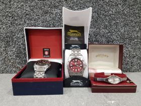 3 watches 1 ladies rotary 1 gts slazenger 1 swiss sports all with original boxes