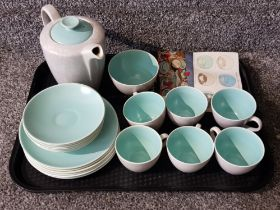 Tray containing 20 pieces of vintage Poole twintone tableware
