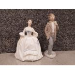 Royal doulton figurine hn 3222 together with nao by lladro figure