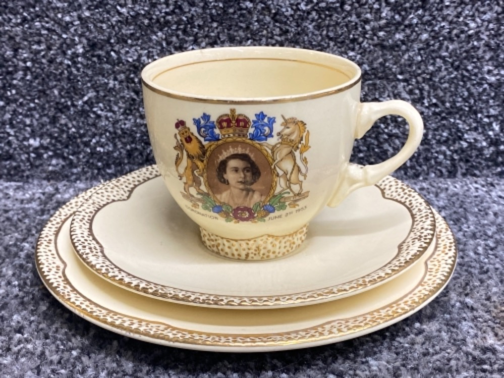 Clarice Cliff trio for the coronation of Queen Elizabeth 1953, cup, saucer & plate - Image 2 of 3