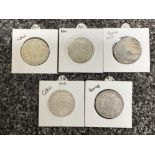 5x silver one Rupee coins dated 1878/1912/18/19/43