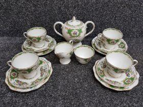 15 pieces of Foley tea china, Broadway pattern